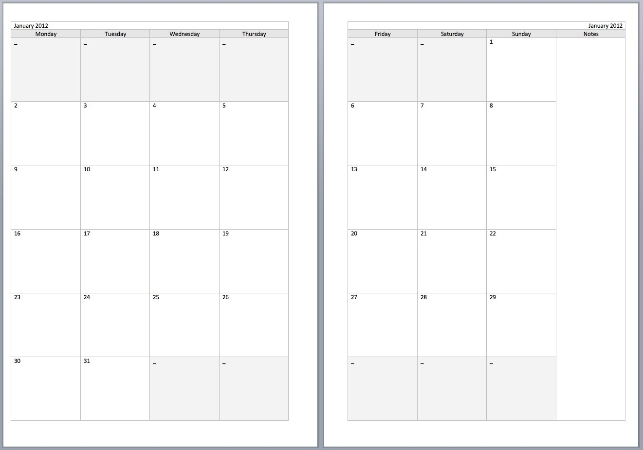 2 Page Monthly Calendar Template - Remar-Free 2 Page Monthly Calendars Printable