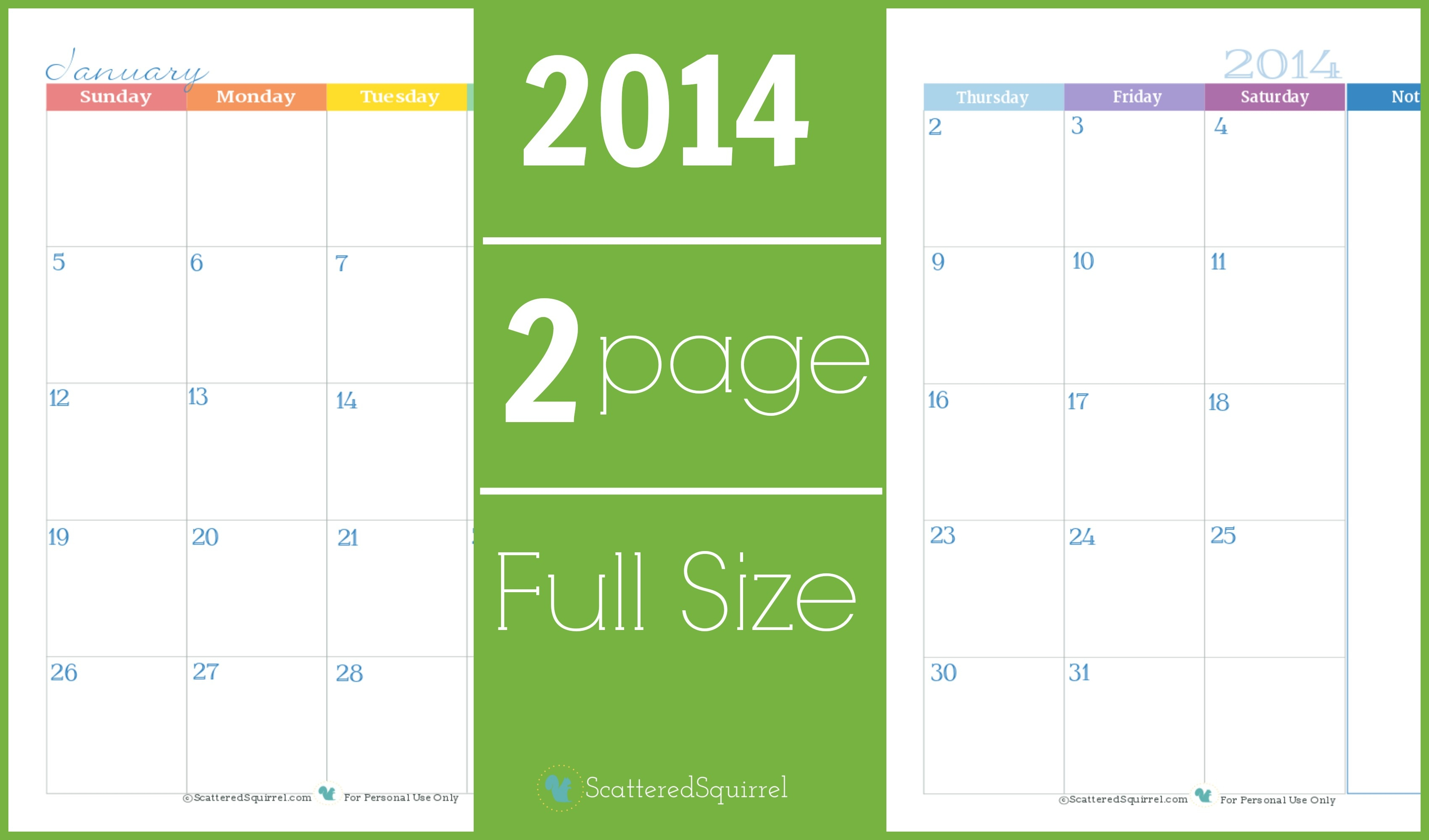 2014 Calendar: Two Page Monthly - Scattered Squirrel-Free Two Page Blank Printable Calendar