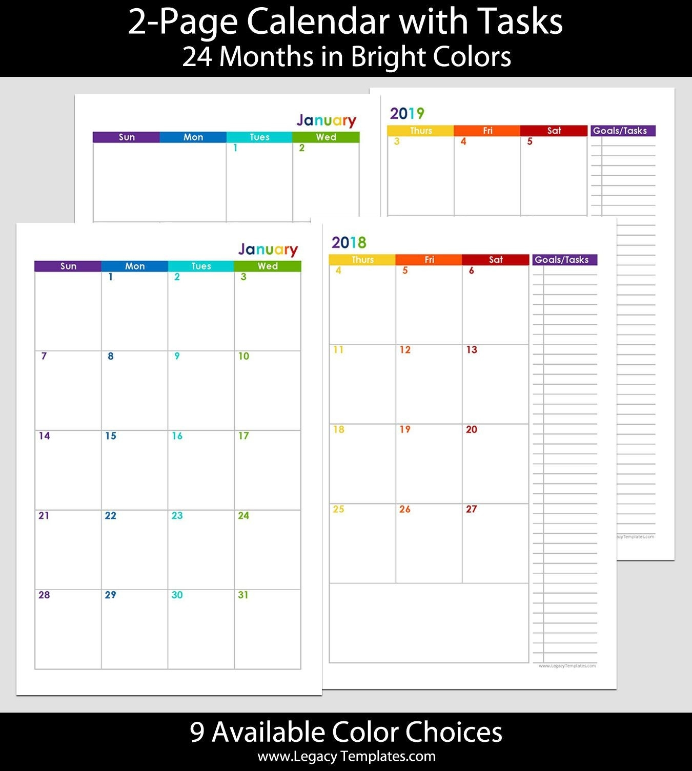 2018 & 2019 24-Months 2-Page Calendar. Printable 2-Page-8.5 X 14 Blank Calendar Templates