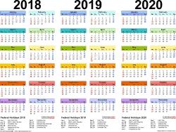 2018-2020 Three Year Calendar - Free Printable Pdf Templates-2 Year Pocket Calendar Template