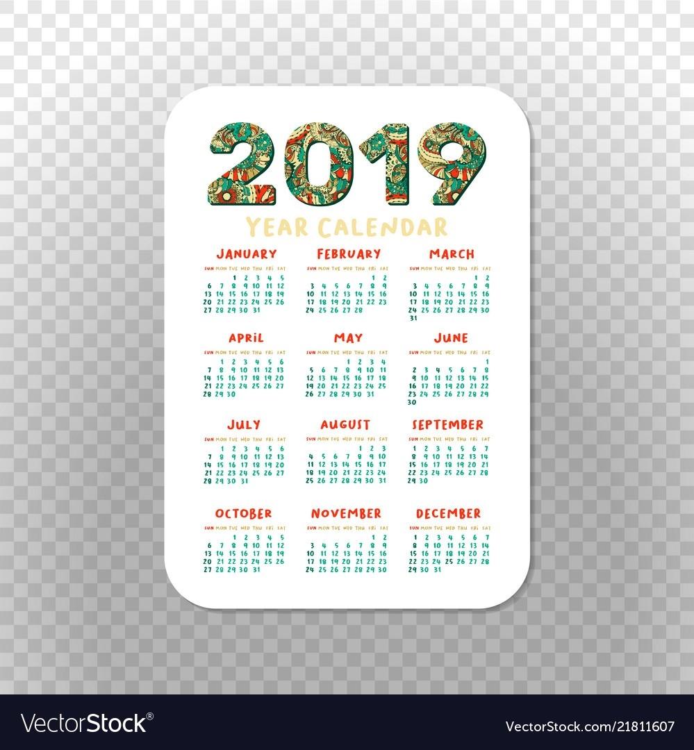 2019 Calendar Template For Pocket Calendar Basic-2 Year Pocket Calendar Template