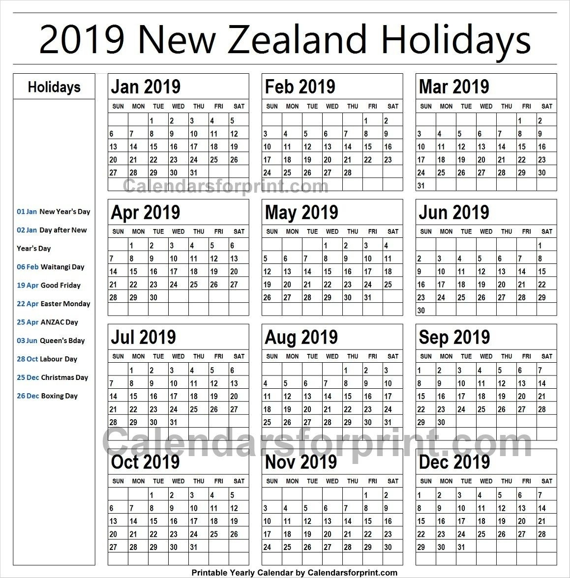 2019 Calendar With Holidays New Zealand Printable | Holiday-School Holidays Nz Calendar