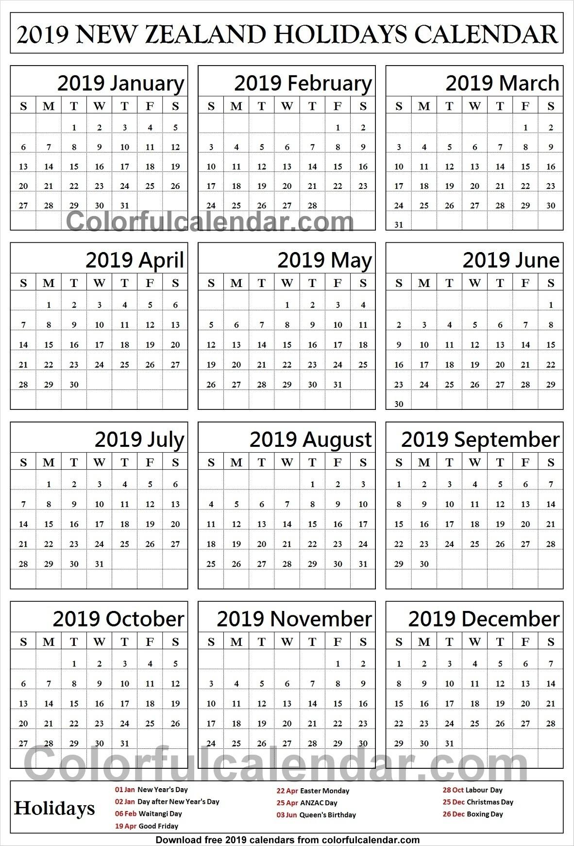 2019 School Holidays New Zealand Calendar | 2019 Calendar-School Holidays Nz Calendar