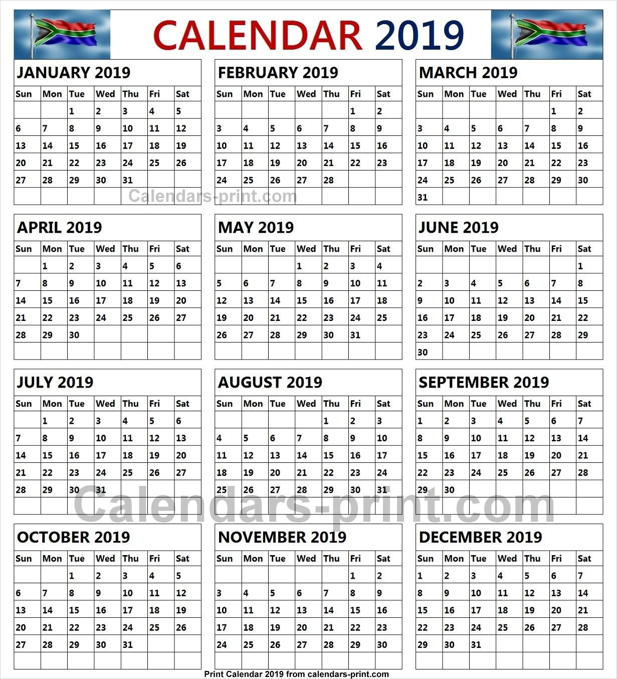 2019 South African Calendar With Public Holidays | Print-Calender With Public Holidays