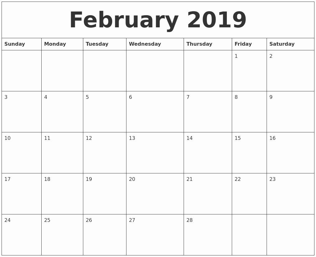 2019 Uk February Template Monthly Printable::february 2019-Printable Monthly Calendar Templates Uk