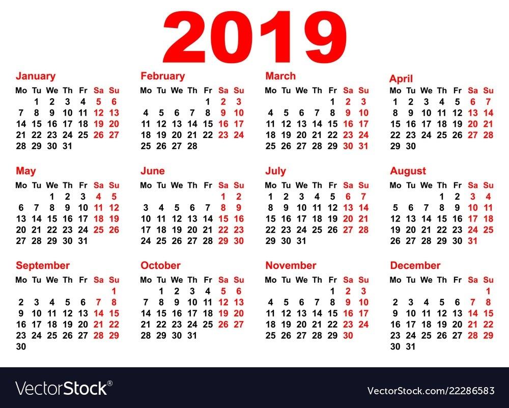 2019 Year Calendar Template Grid Pocket Horizontal-2 Year Pocket Calendar Template