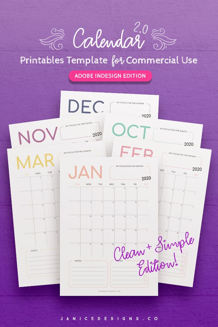 2020 Calendar Indesign Template For Commercial Use By Janice-2020 Calendar Template Indesign