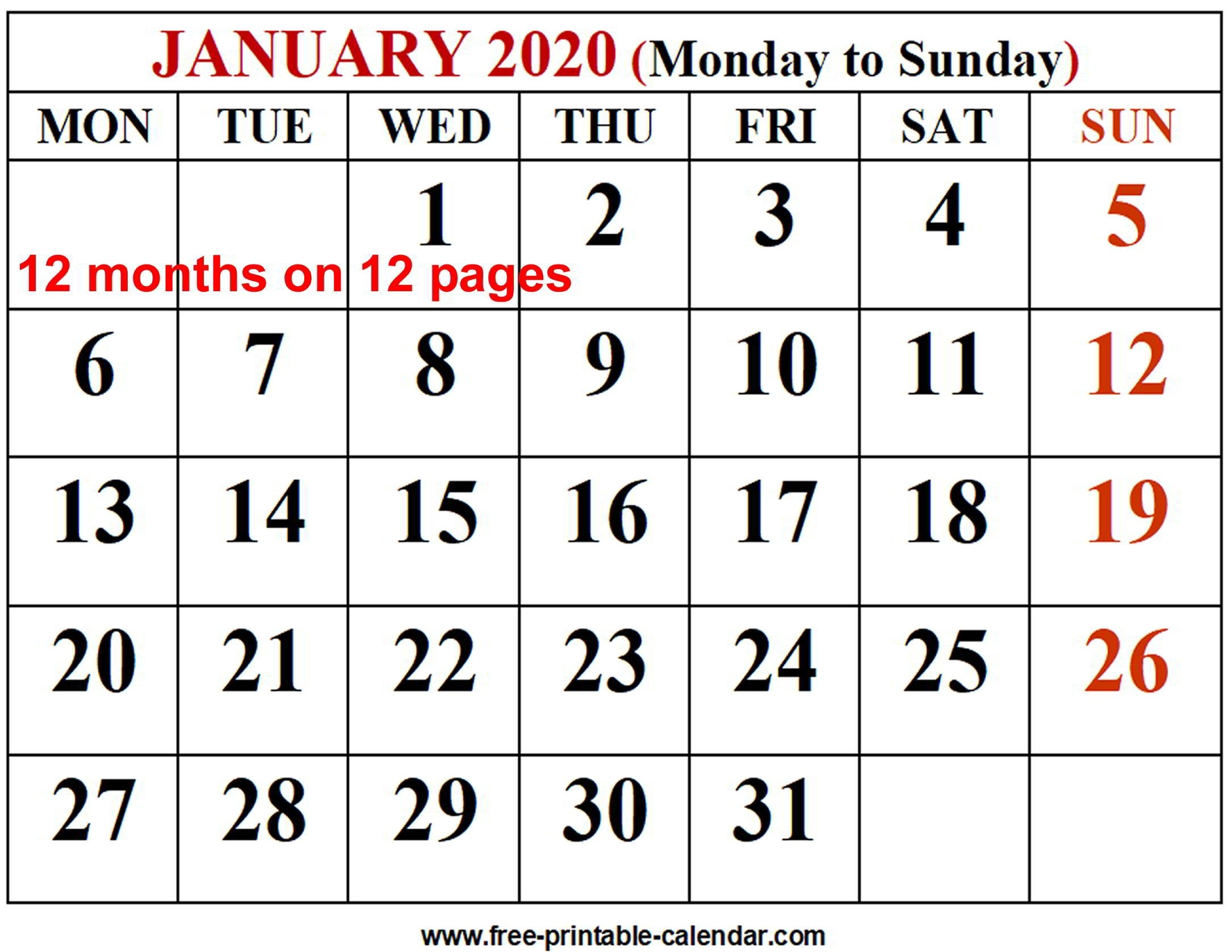 2020 Calendar Template - Free-Printable-Calendar-Printable Monthly Calendar Templates Uk