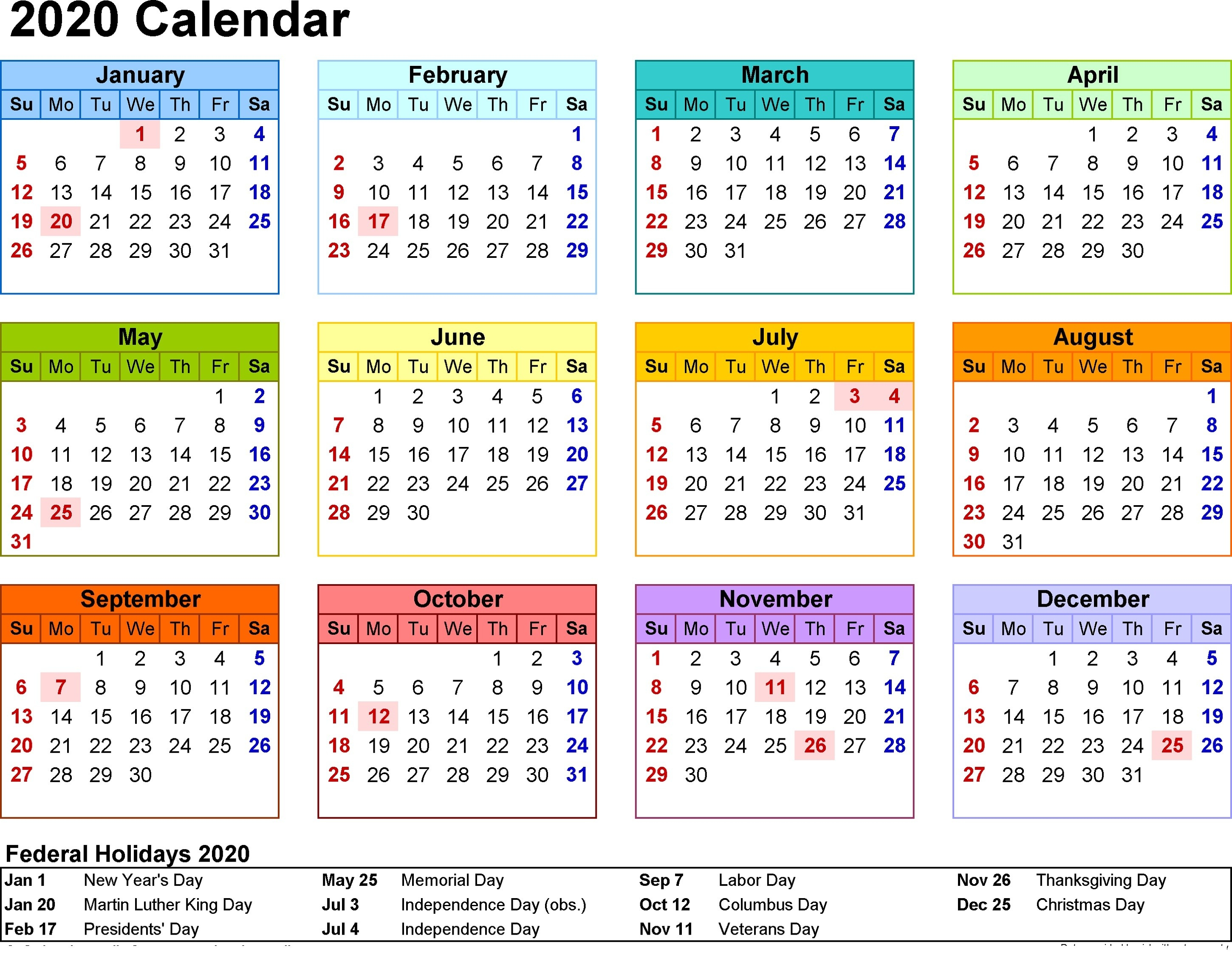 2020 Calendar With Holidays - Remar-Calender With Public Holidays