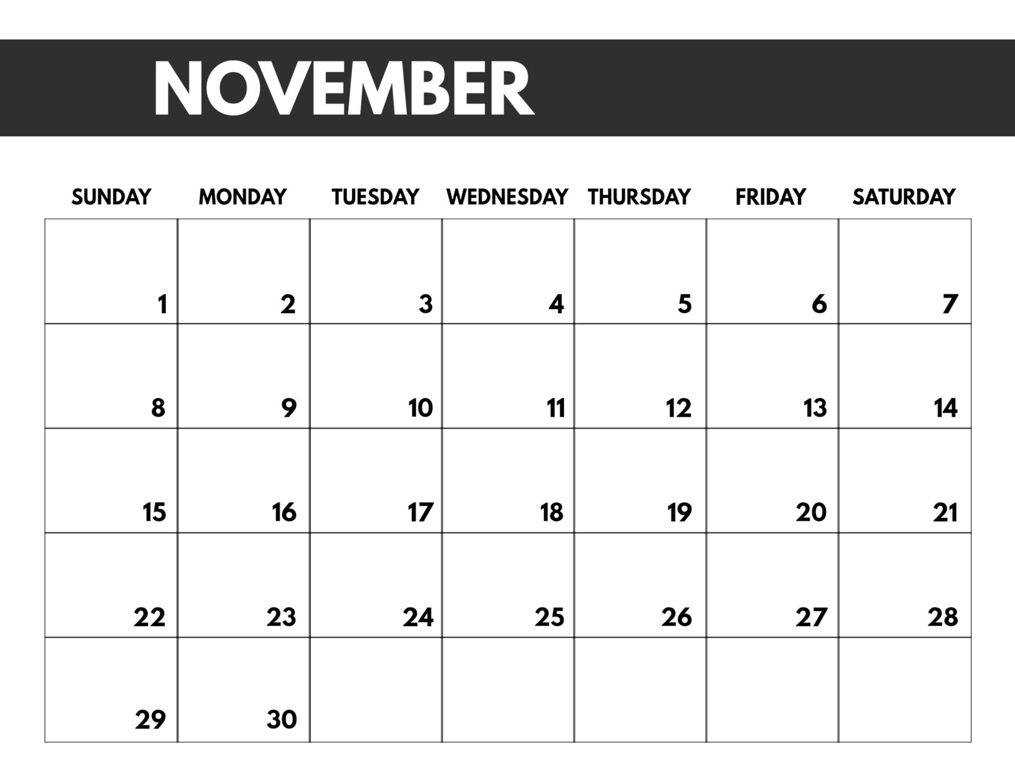 2020 Free Monthly Calendar Template - Paper Trail Design-January Thru December 2020 Printable Monthly Calendar