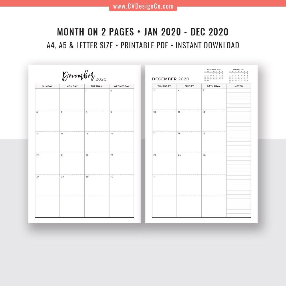 2020 Monthly Planner, 12 Month Calendar, Monthly Organizer, Month On 2  Pages, Printable Planner Inserts, Best Planner Template, Filofax A5, A4,  Letter-2 Page Calendar Printable Template 2020
