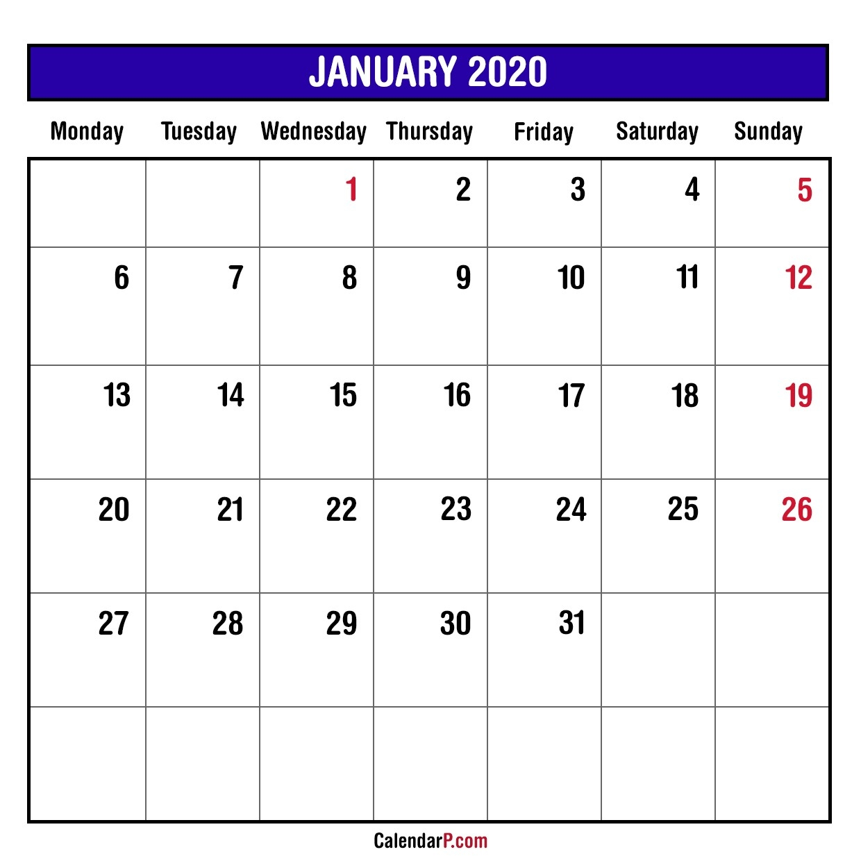 2020 Monthly Planner Printable Free – Monday Start, Blue-Monday To Friday Printable Monthly Calendar
