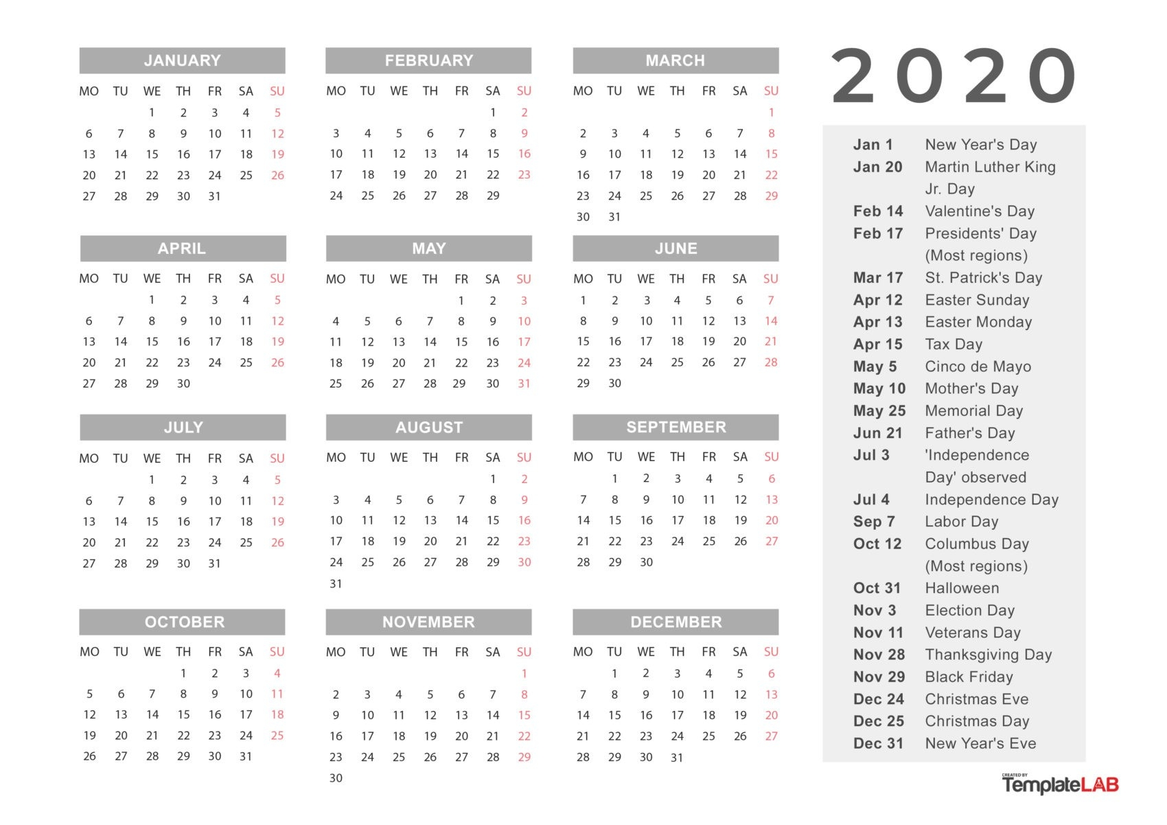 2020 Printable Calendars [Monthly, With Holidays, Yearly] ᐅ-2020 List Of Holidays Printable
