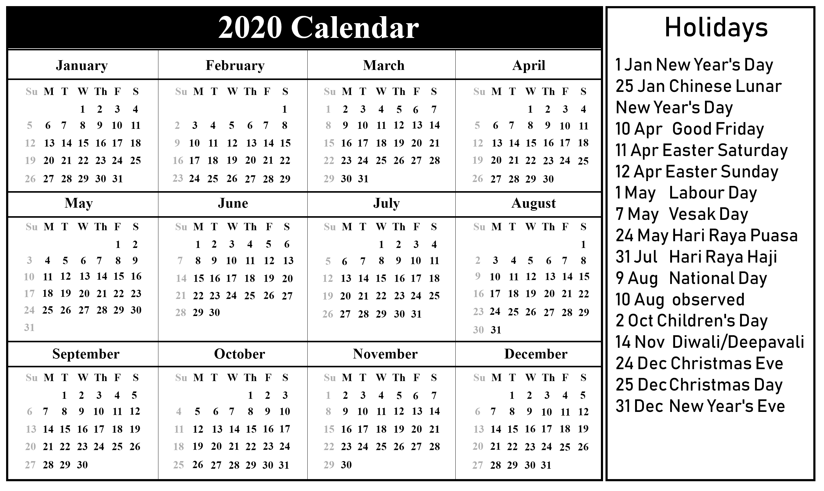 2020 Year Calendar With Holidays - Remar-2020 Calenderwa School Holidays Printable