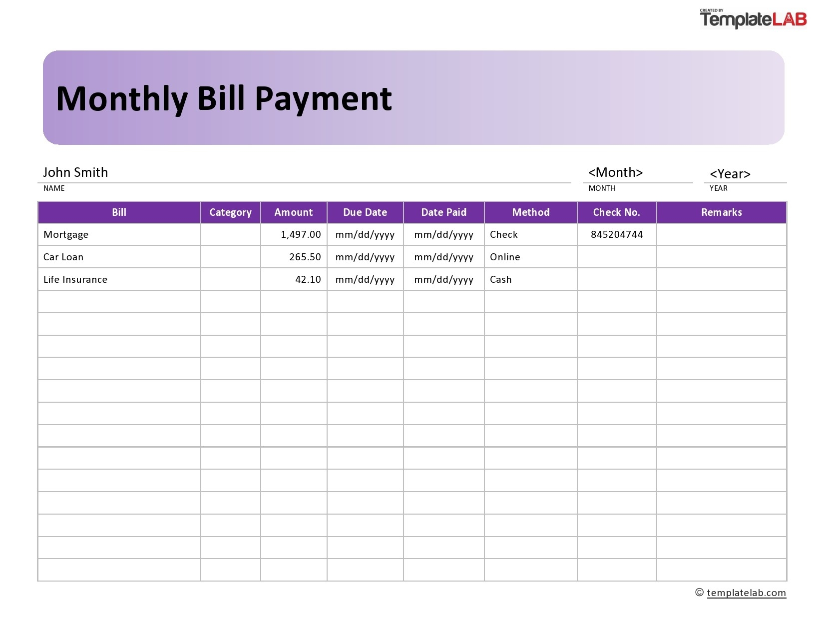 33 Free Bill Pay Checklists & Bill Calendars (Pdf, Word & Excel)-Free Printable Monthly Bill Calendar