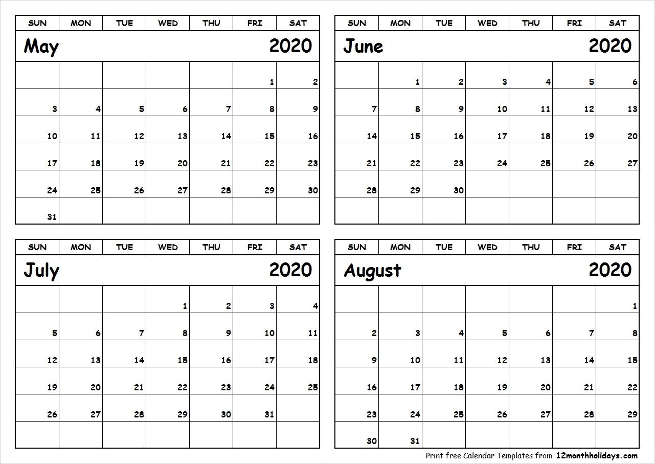 4 Month Printable Calendar 2020 | Monthly Printable Calender-4 Month Calendar Template 2020