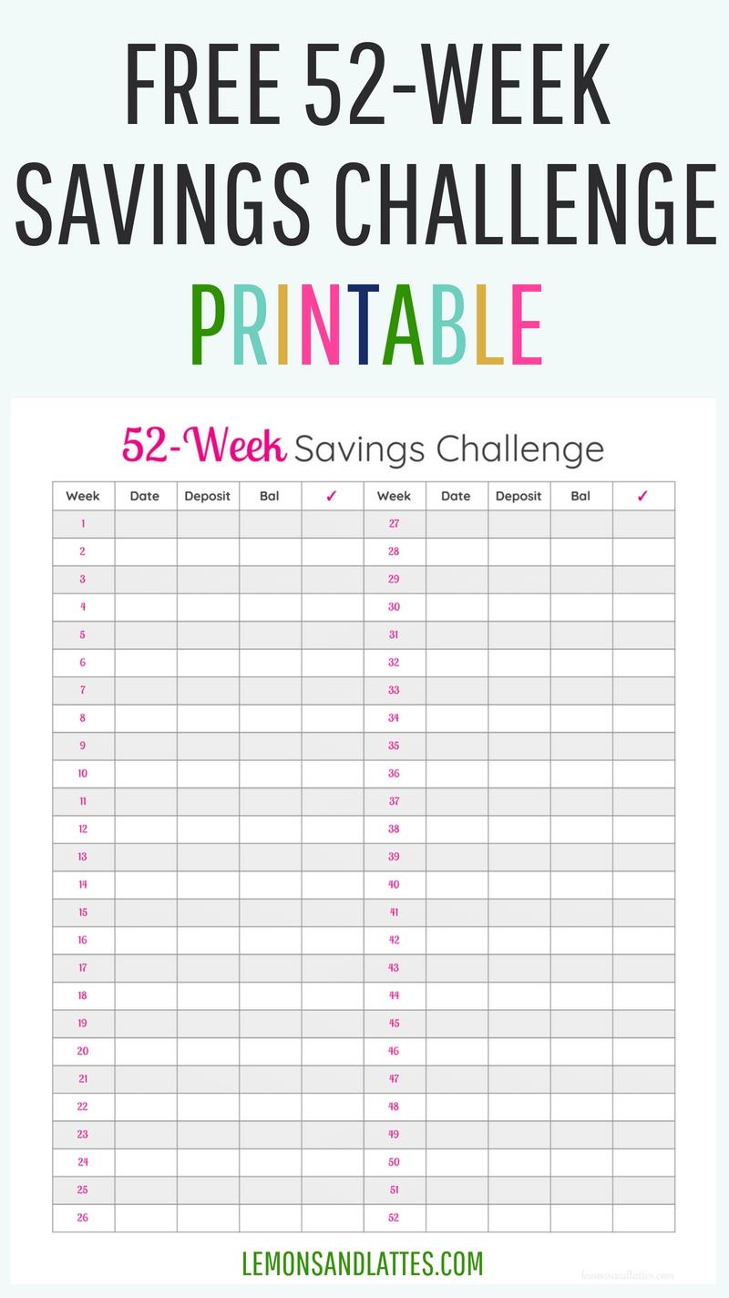52-Week Money Challenge Printable 2020 | 52 Week Money-Free Monthly Bill Printable 2020