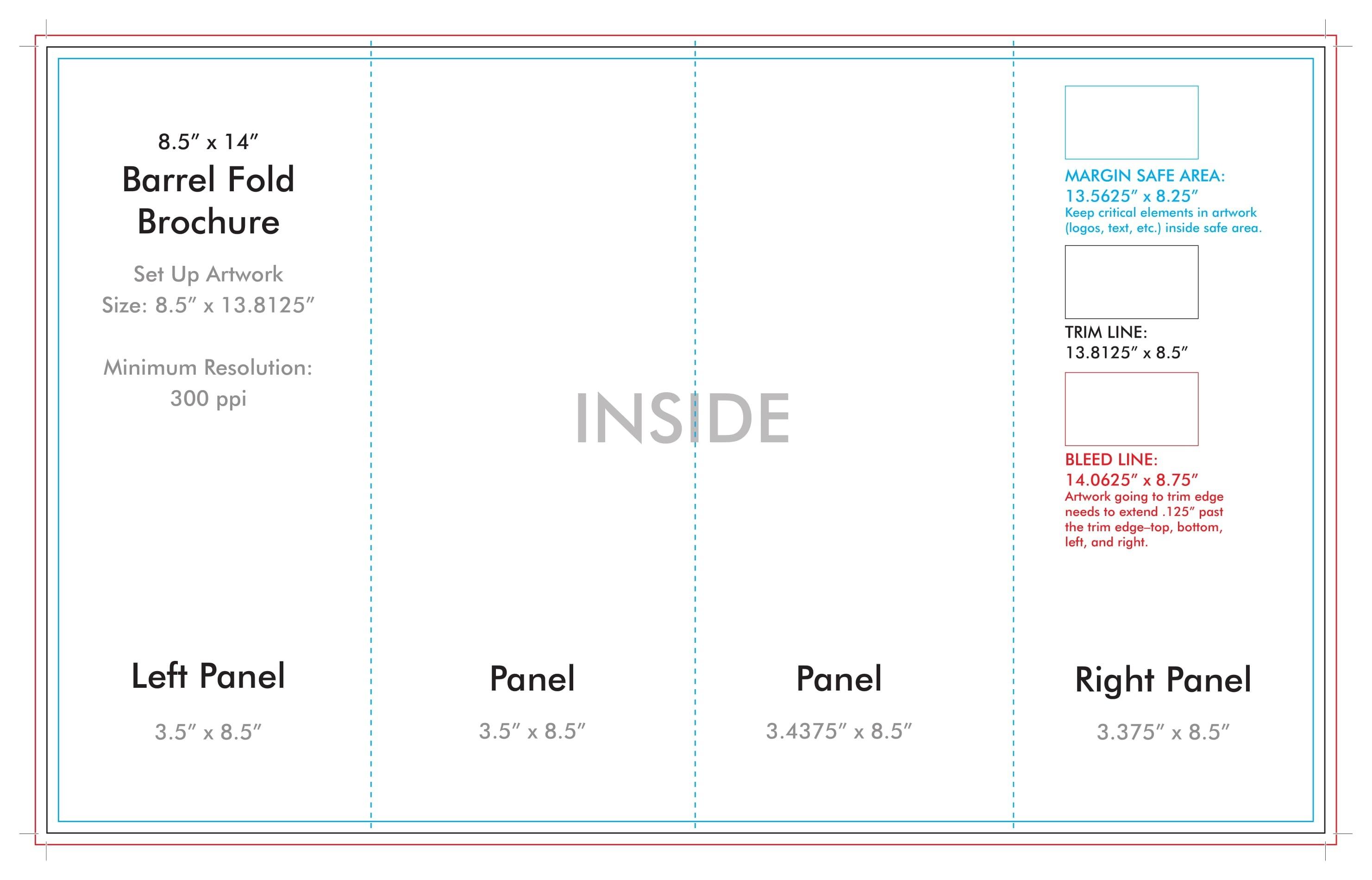 "8.5"" X 14"" Barrel Fold Brochure Template - U.s. Press-8.5 X 14 Blank Calendar Templates"
