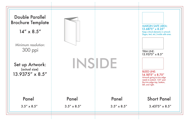 "8.5"" X 14"" Double Parallel Brochure Template - U.s. Press-8.5 X 14 Blank Calendar Templates"