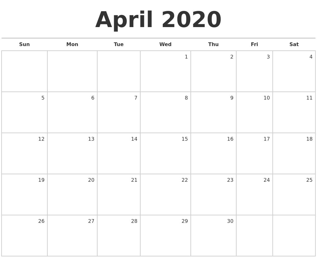 April 2020 Blank Monthly Calendar-Calendar Labs Monday Start Monthly Calendar