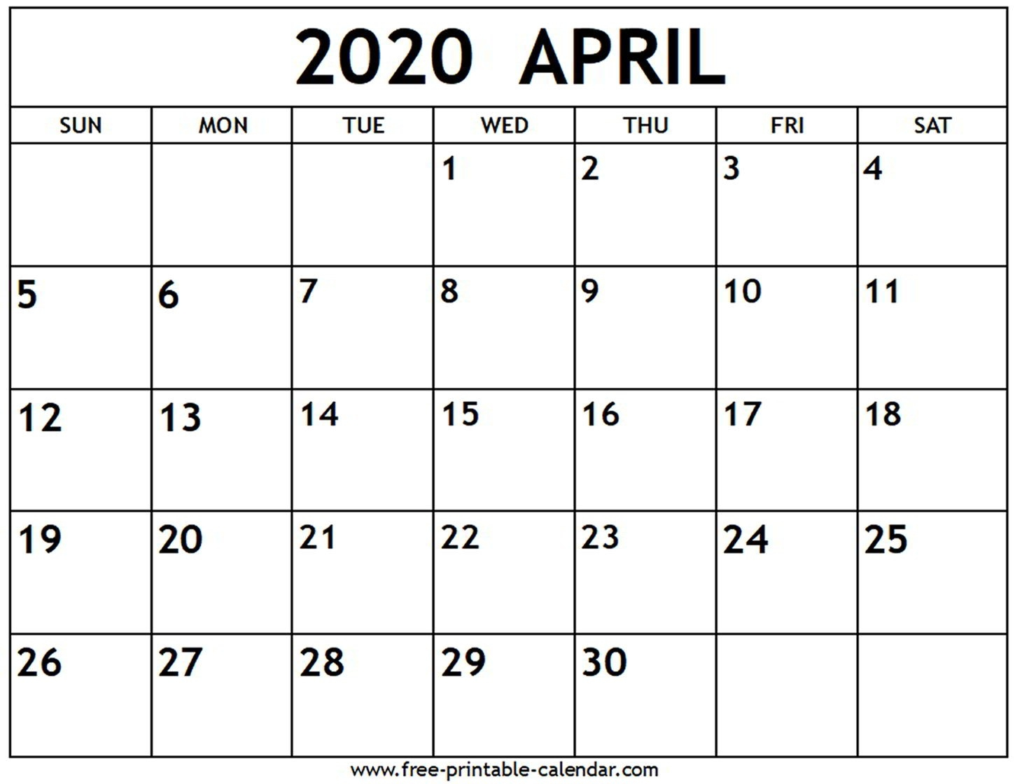 April 2020 Calendar - Free-Printable-Calendar-Blank 2020 Calendar Uk Printable