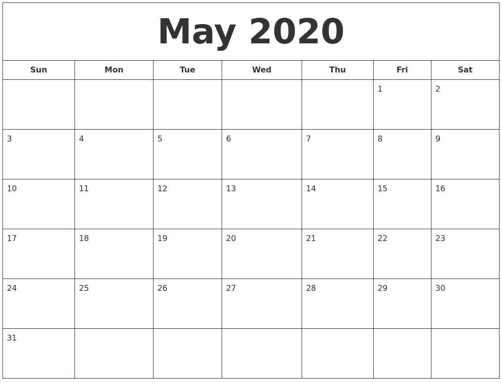 April 2020 Calendar, May 2020 Printable Calendar-Monday To Friday Printable Monthly Calendar