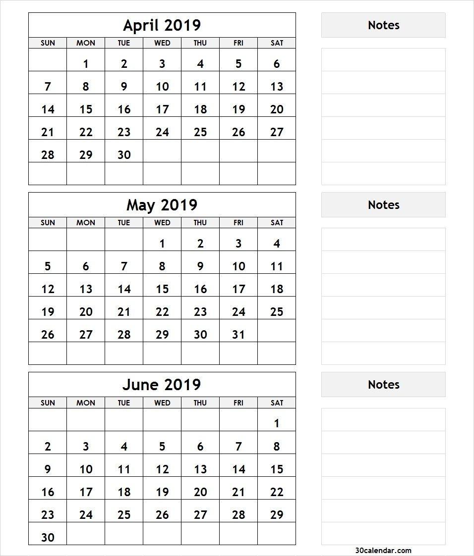 April May June 2019 Calendar Printable Template Pdf, Word-3 Month Blank Printable