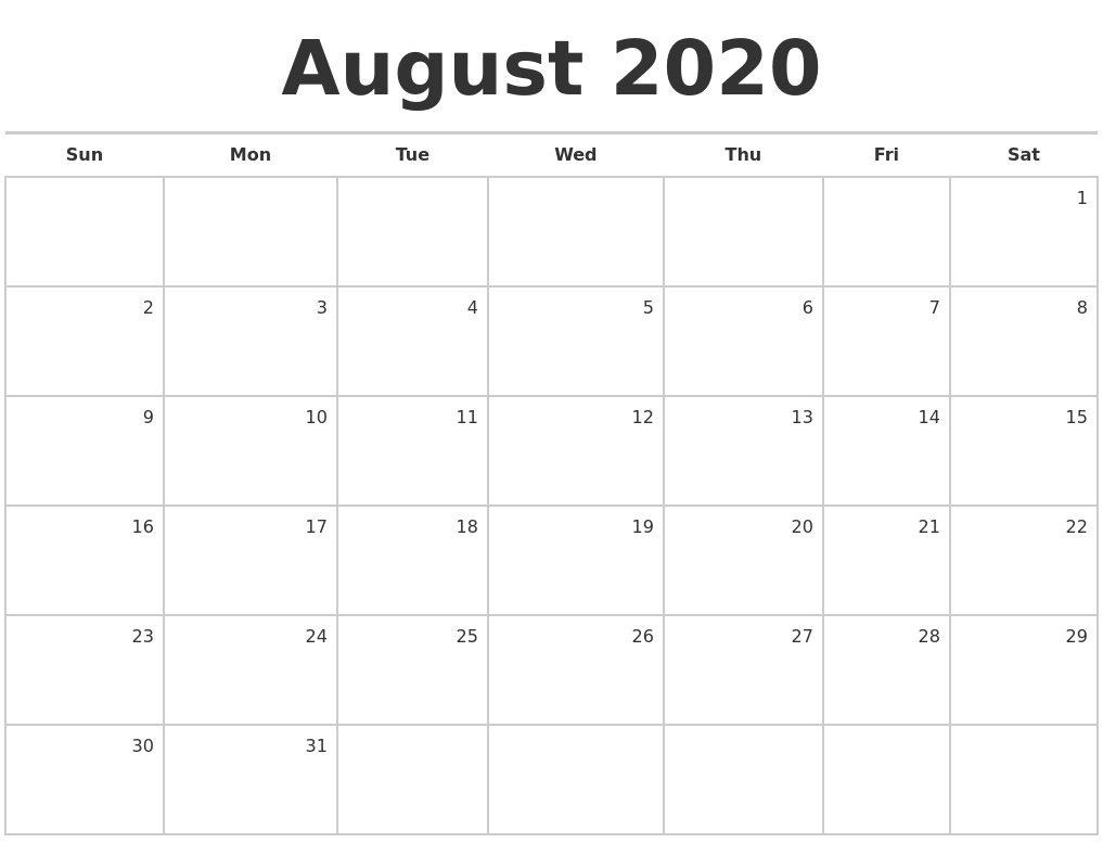 August 2020 Blank Monthly Calendar-Monthly Calendar Monday To Friday