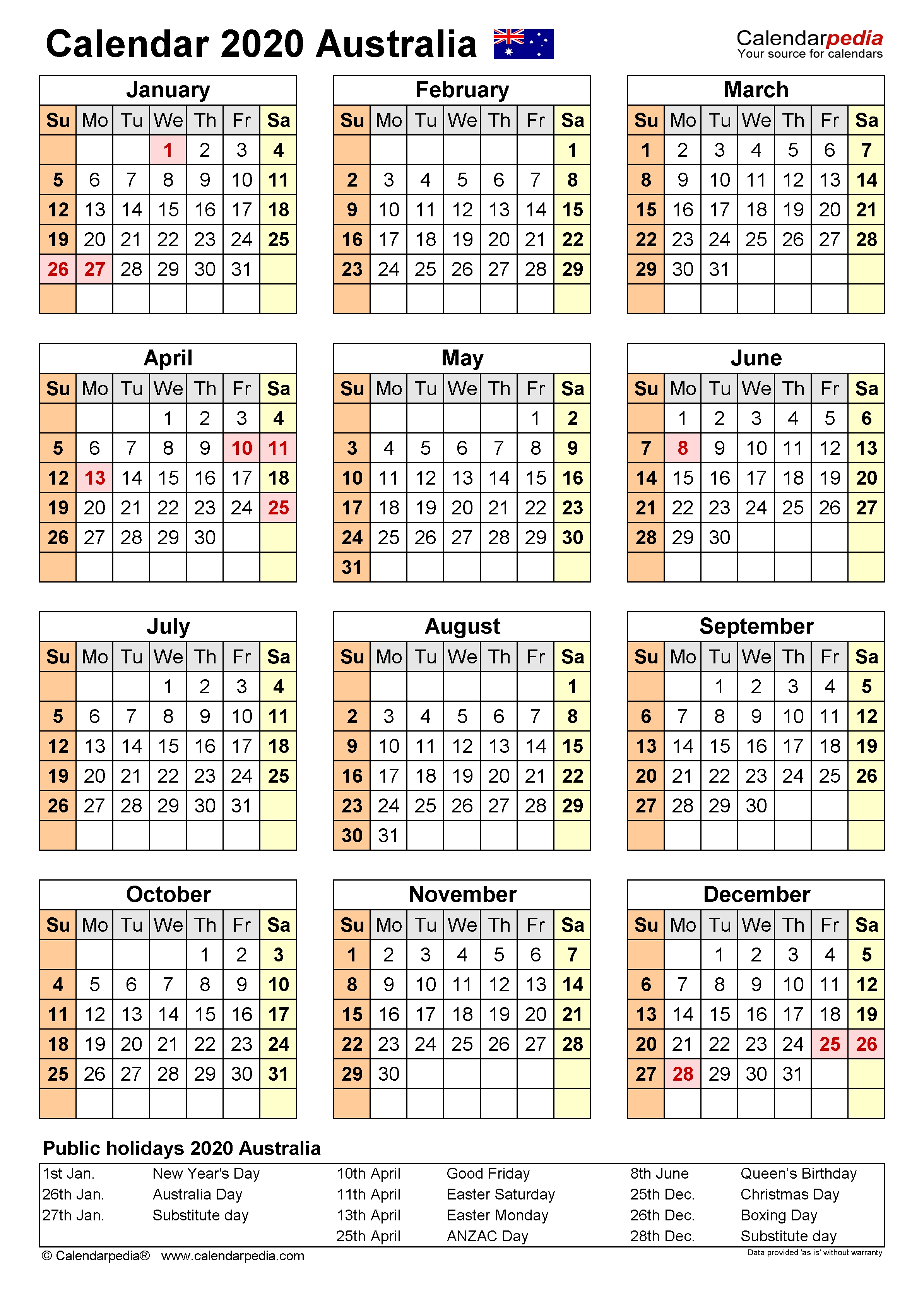 Australia Calendar 2020 - Free Printable Word Templates-Financial Calendar Template Australia 2020-2020