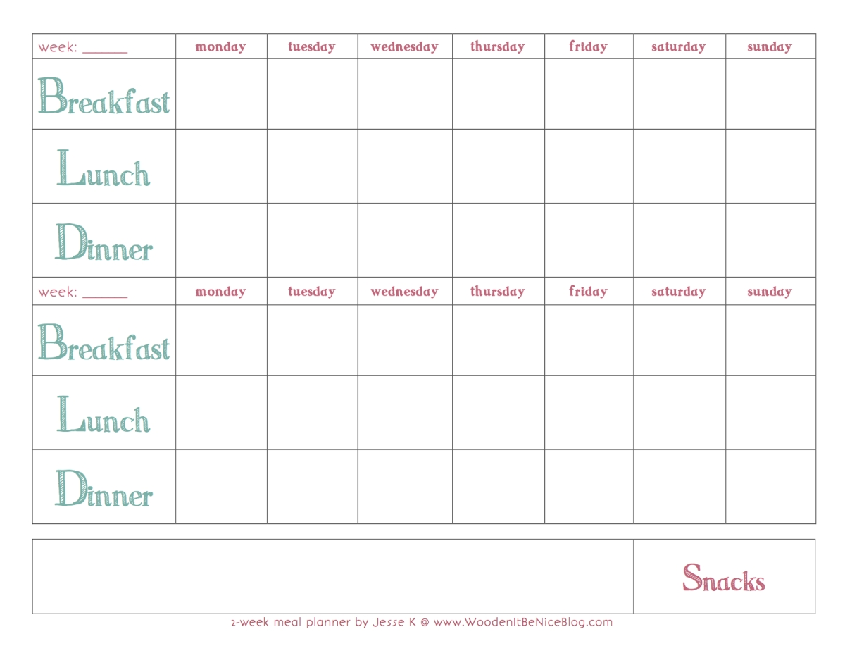 Bi-Weekly Meal Planning Template | Meal Planner Printable-Schedule Biweekly Templates Free Printable