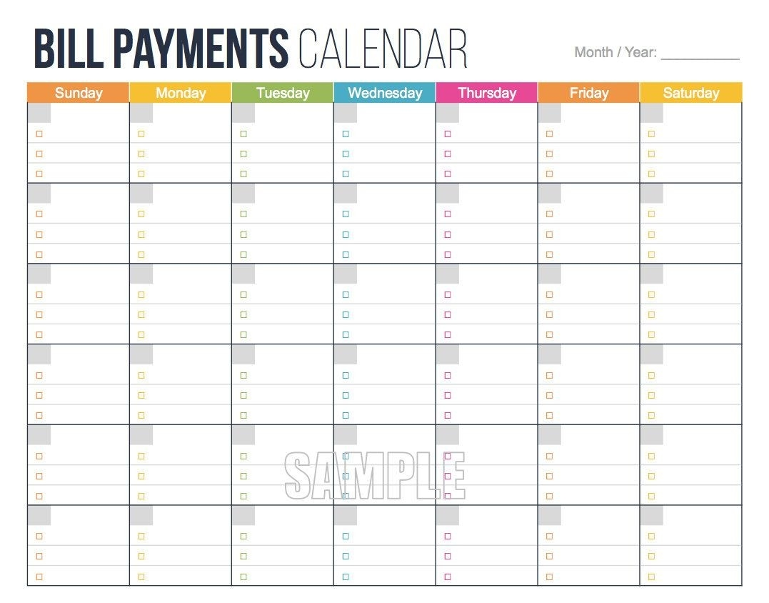 Bill Payments Calendar - Personal Finance Organizing-Monthly Bill Pay Calendar Printable