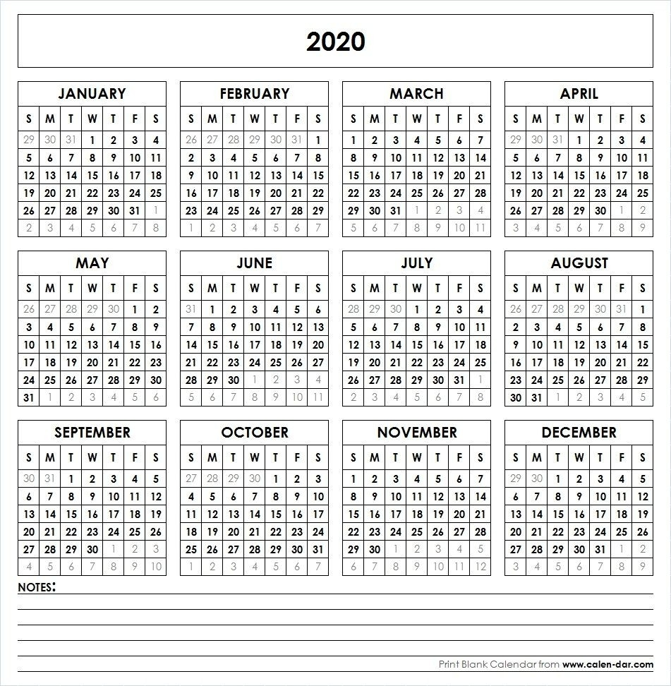 Blank 2020 Printable Calendar Template Pdf | Yearly Calendar-Blank 2020 Calendar Uk Printable