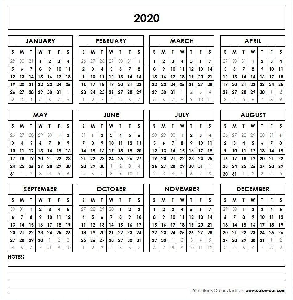 Blank 2020 Printable Calendar Template Pdf   Yearly Calendar-Blank 2020 Calendar Uk Printable