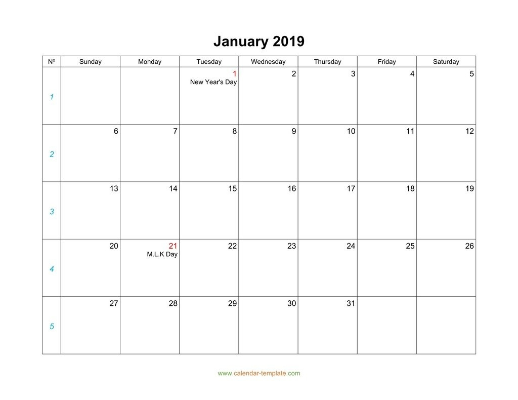 Blank Calendar 2019-Monthly Calendar Monday To Friday