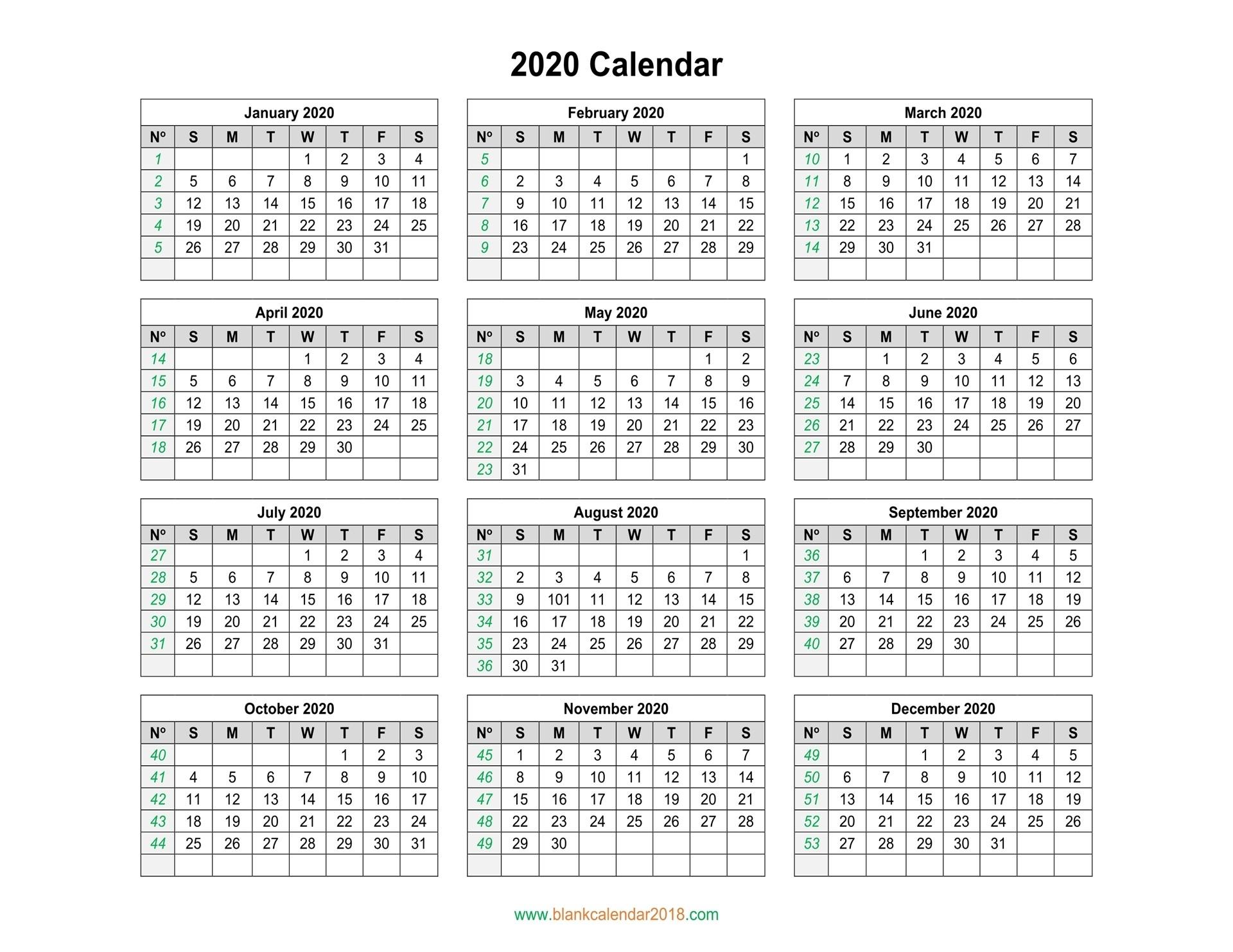 Blank Calendar 2020-Blank 2020 Calendar Uk Printable