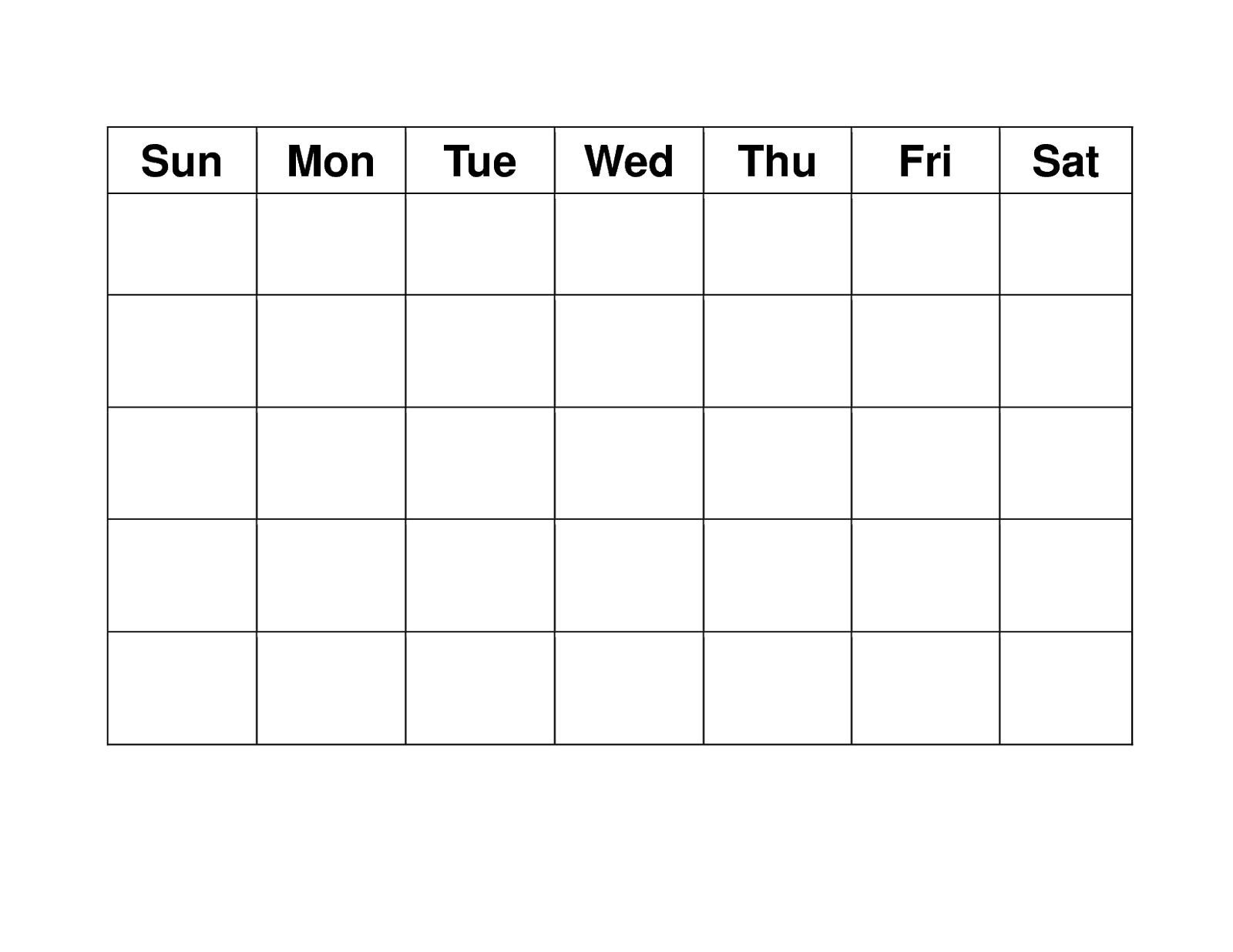 Blank Weekly Calendars Printable | Printable Blank Calendar-Blank Calendar Grid Printable