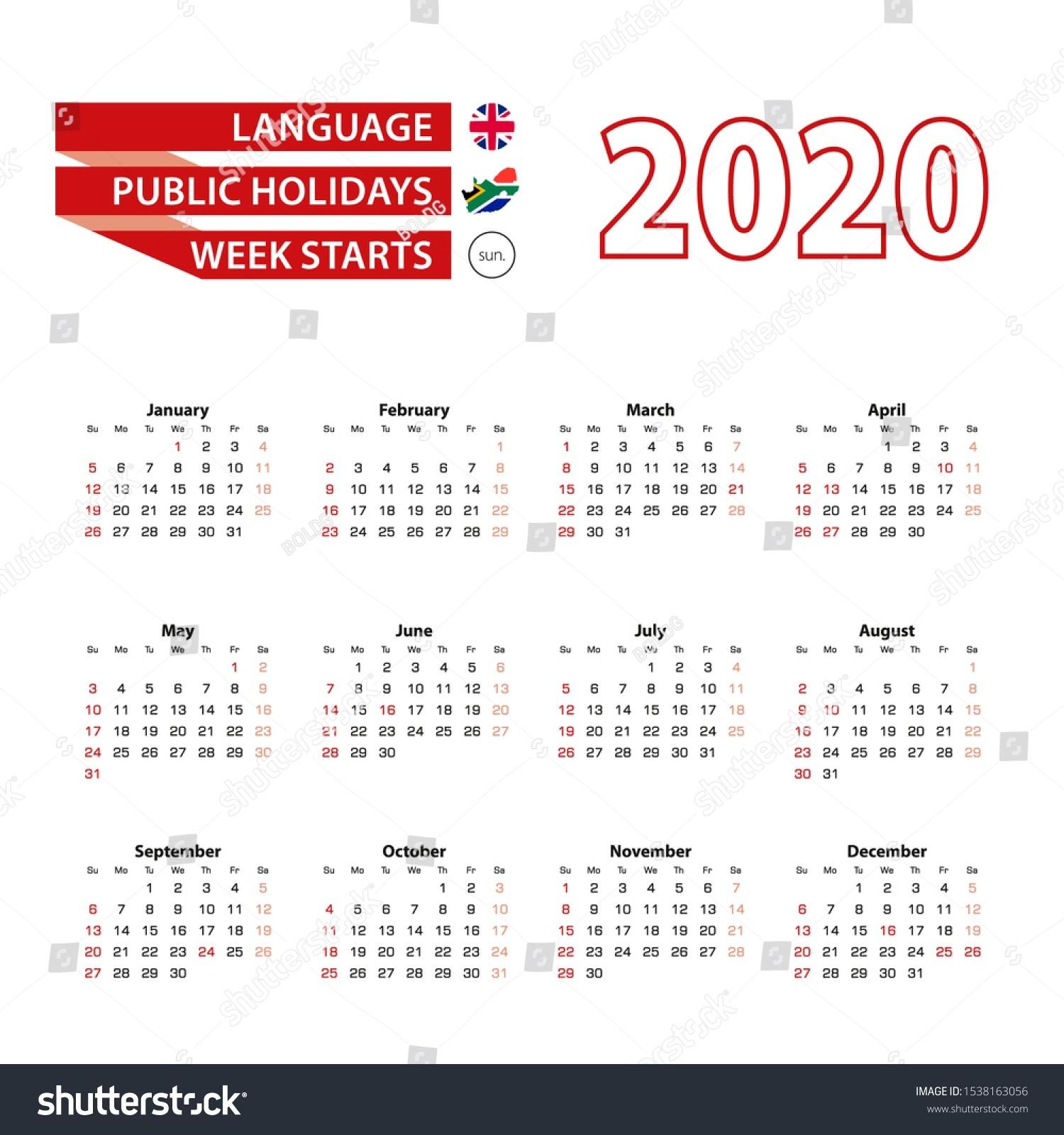 Calendar 2020 English Language Public Holidays Stock Vector-Sa Calendar With Public Holidays 2020