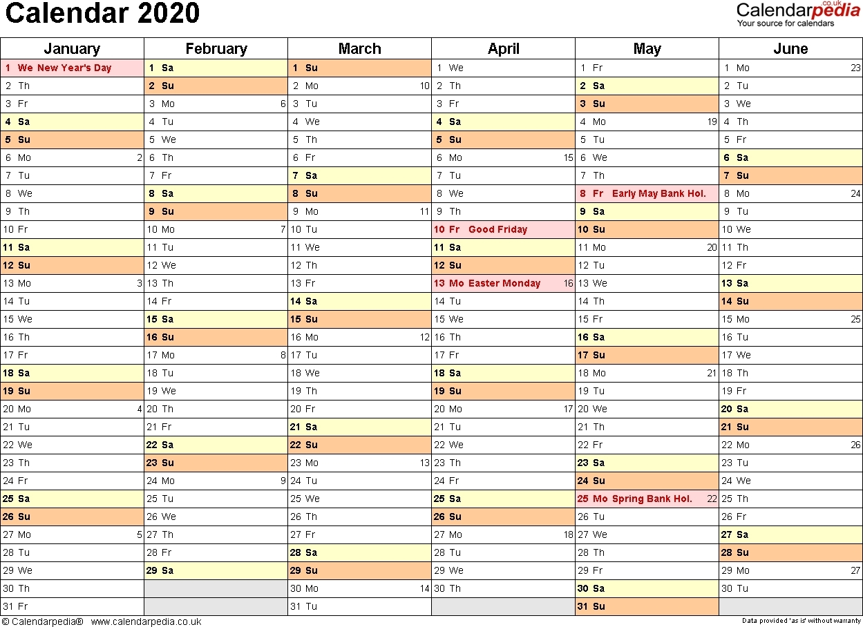 Calendar 2020 (Uk) – 16 Free Printable Pdf Templates-Print 6-Printable Monthly Calendar Templates Uk