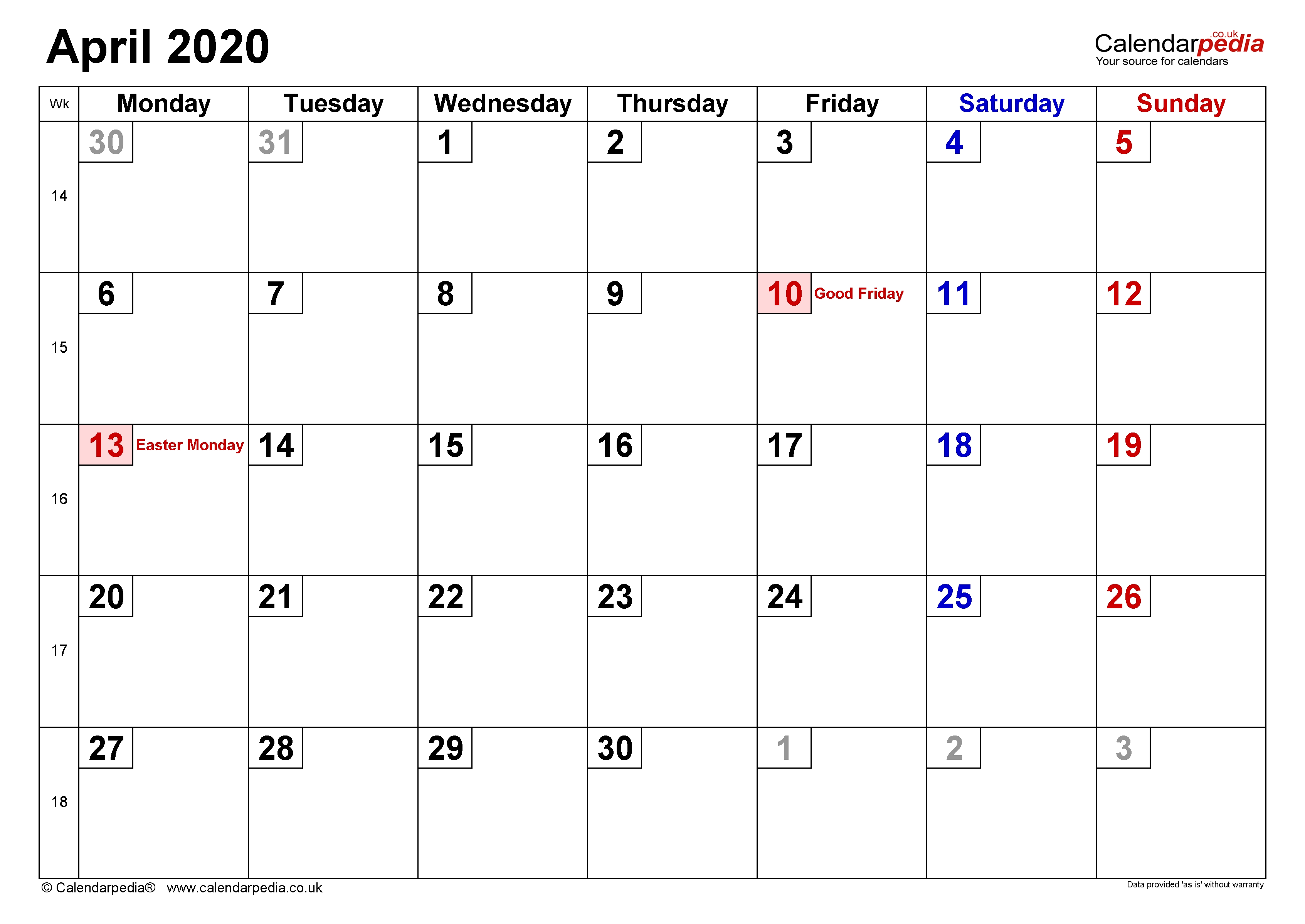 Calendar April 2020 (Uk) With Excel, Word And Pdf Templates-2020 Uk Monthly Calendar Uk