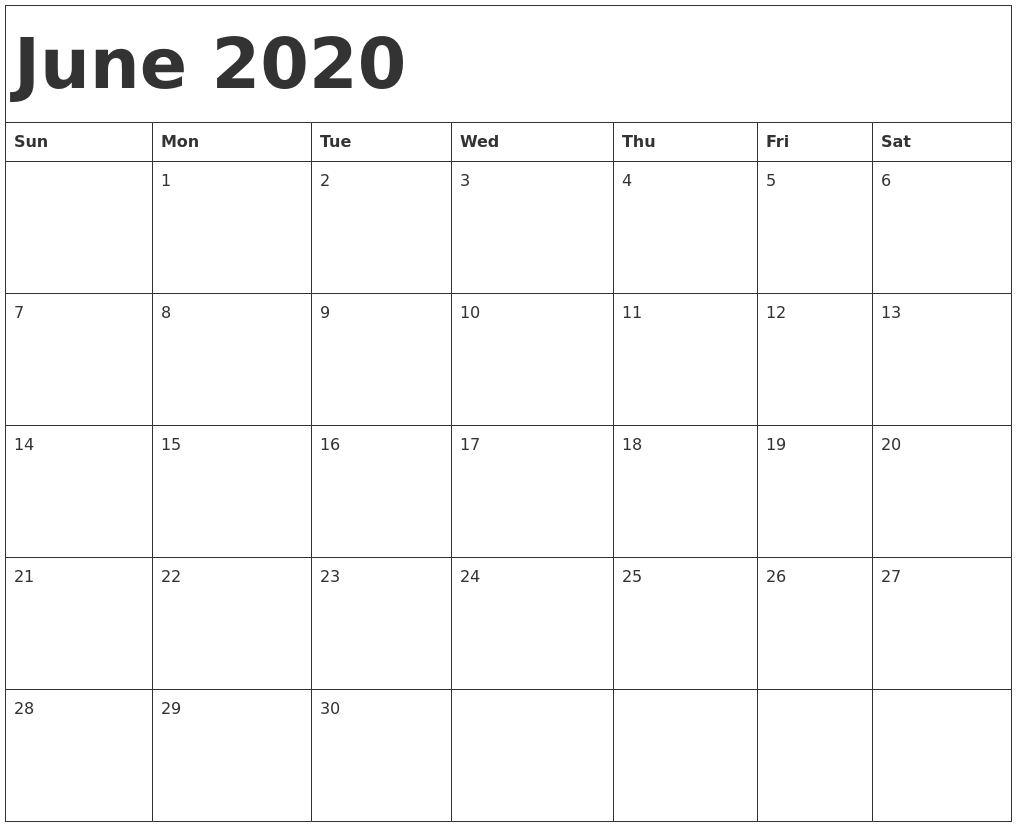 Calendar June 2020 Template - Remar-Monthly Calendar Template 2020 Printable Blank Starting Monday