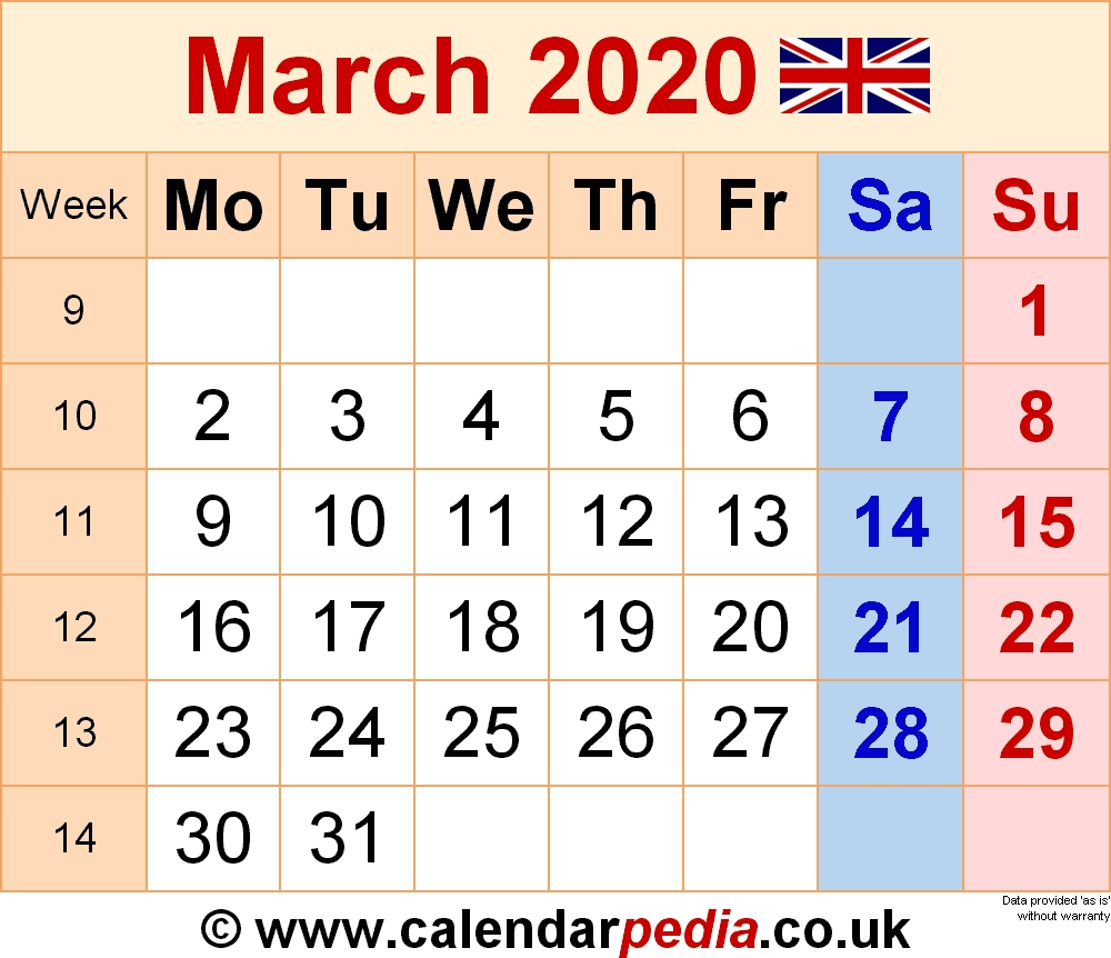 Calendar March 2020 (Uk) With Excel, Word And Pdf Templates-2020 Uk Monthly Calendar Uk