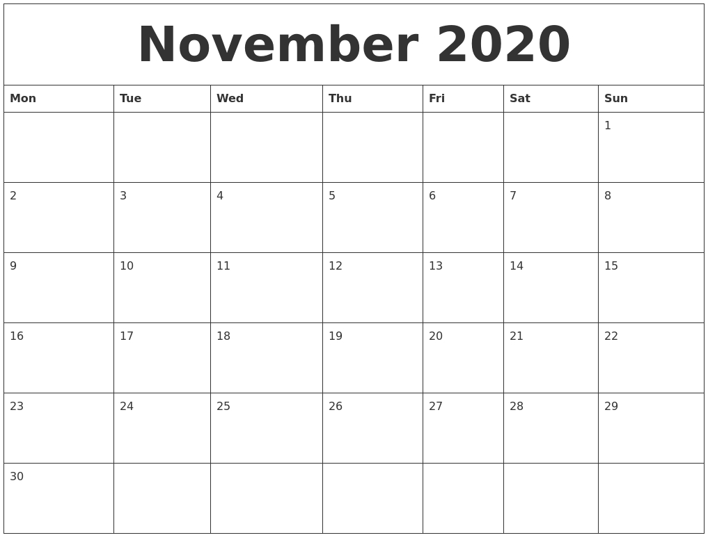 Calendar Month November 2020 - Remar-Monthly Calendar Template 2020 Printable Blank Starting Monday