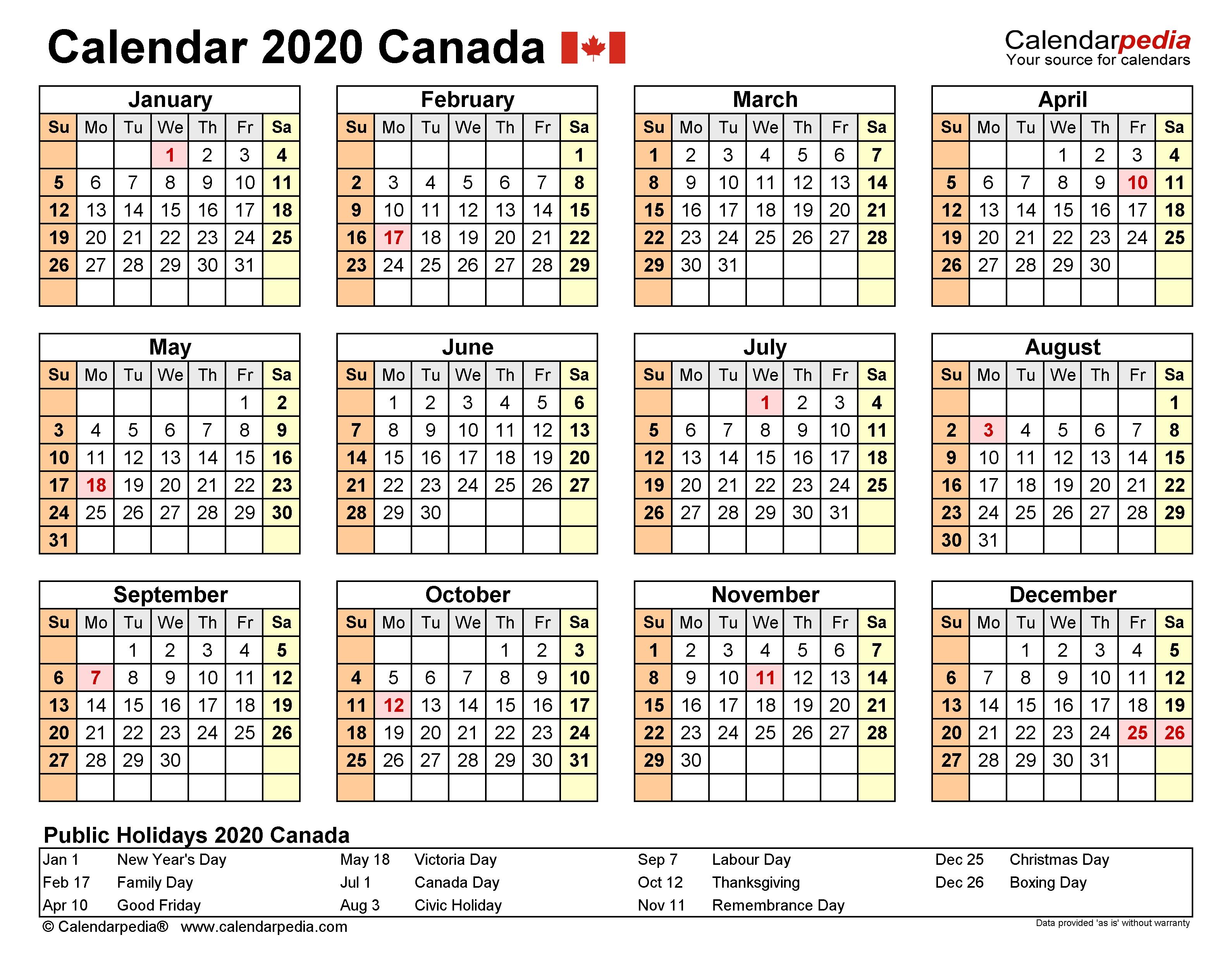 Canada Calendar 2020 - Free Printable Excel Templates-Staff Calendar Template 2020