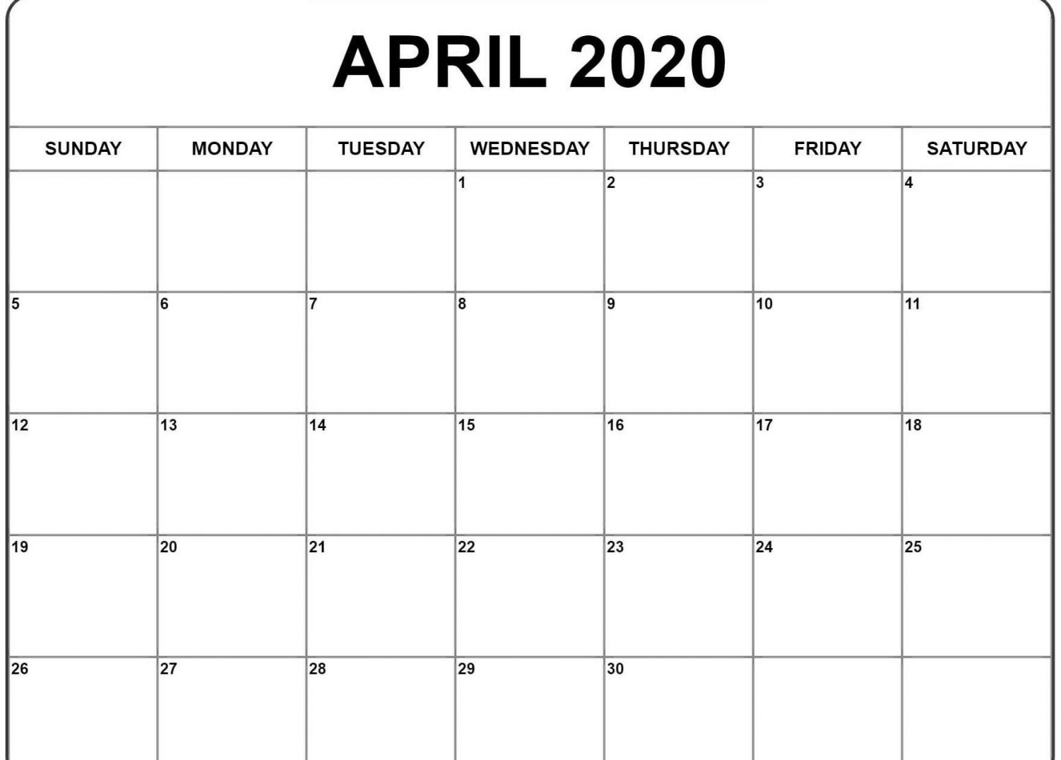 Choose Blank April 2020 Calendar Printable Pdf Templates-Printable Calendar 2020 Monthly June July