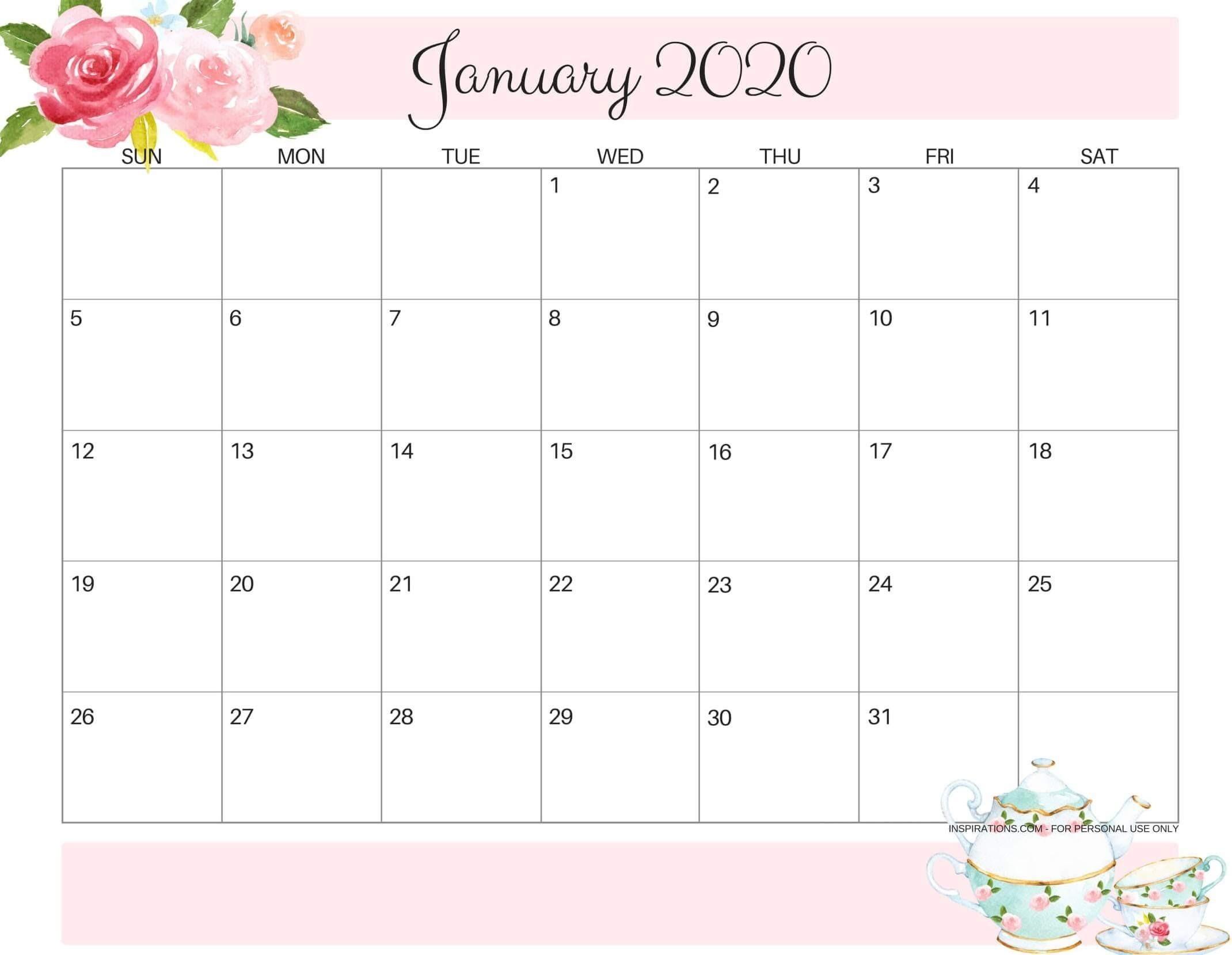 Cute January 2020 Calendar Design Printable Template - Set-Pretty Monthly Calendar 2020/2020