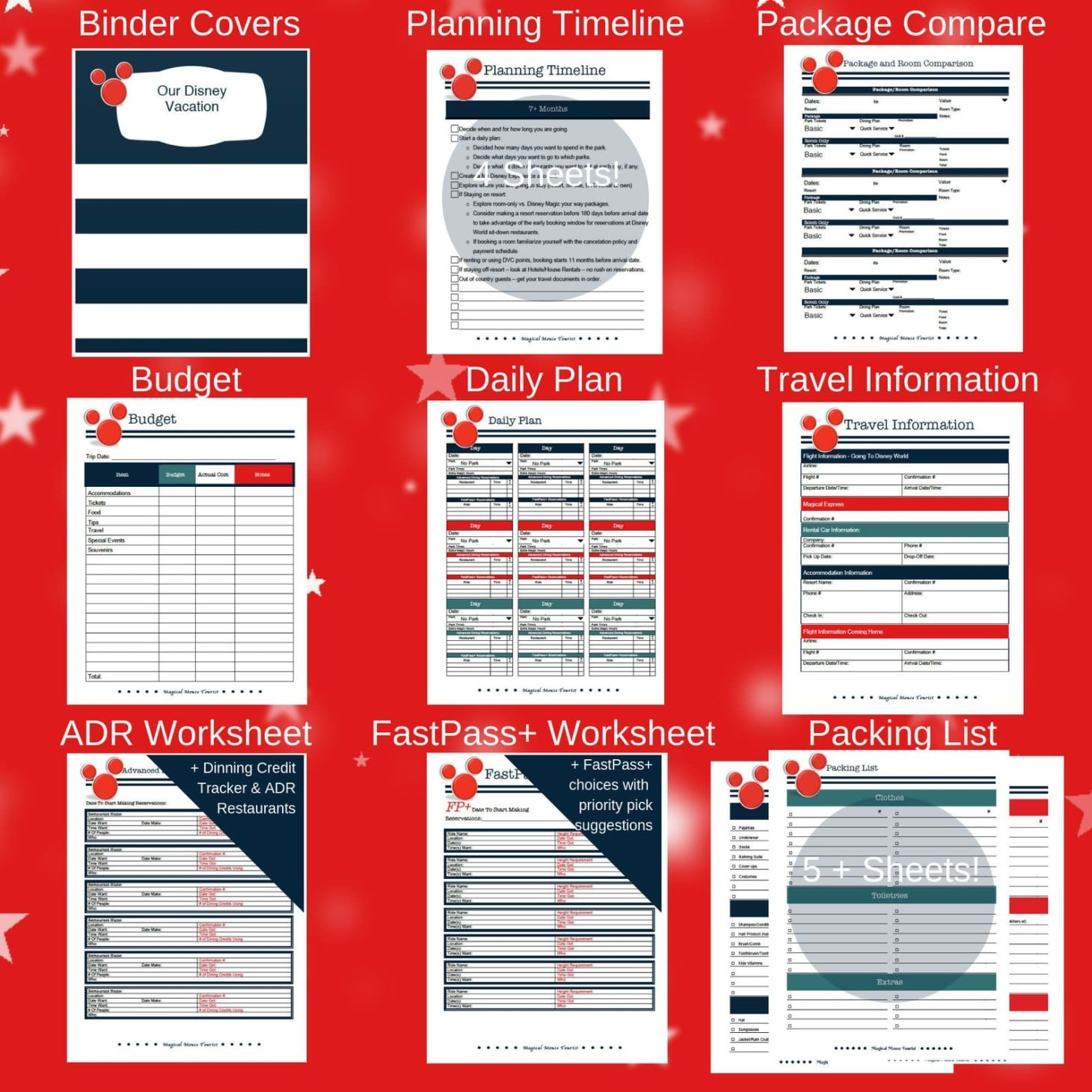 Disney Vacation Spreadsheet Planner Etsy Download-Disney World Touring Template Download