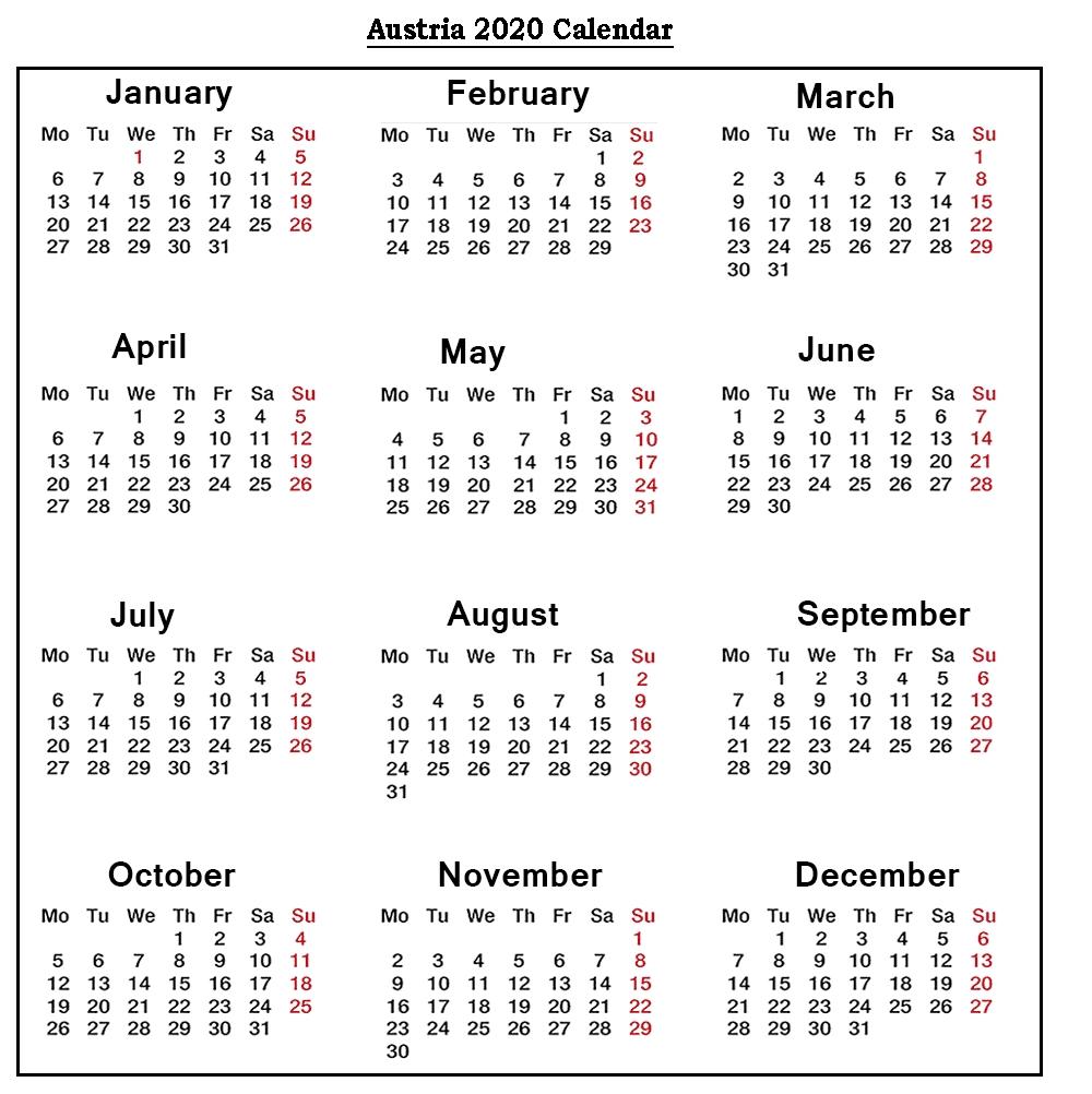 ❤️free Austria 2020 Printable Calendar With Public-Calender With Public Holidays
