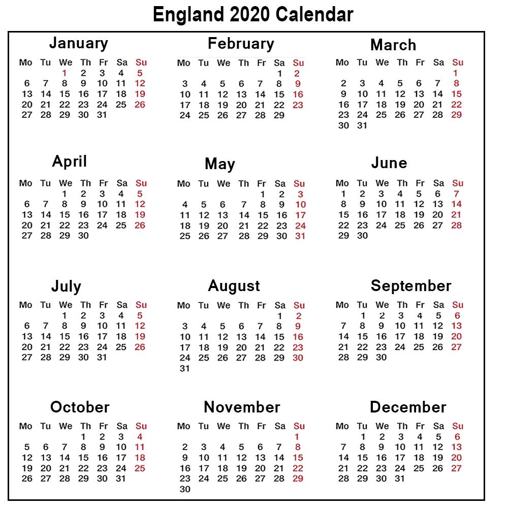 ❤️printable Calendar 2020 Templates With England Public-Blank Calendar 2020 Printable Uk