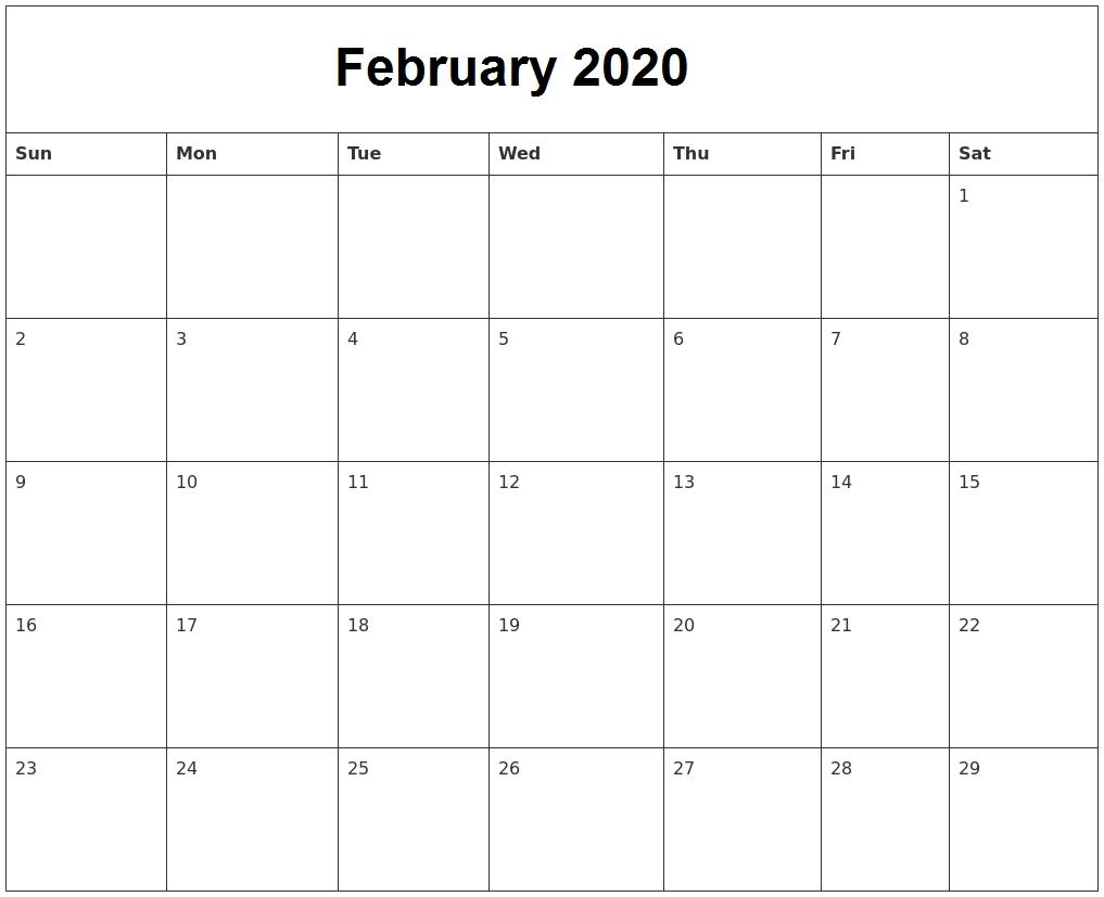 February 2020 Calendar Archives - Calendar School-Blank 2020 Calendar Uk Printable