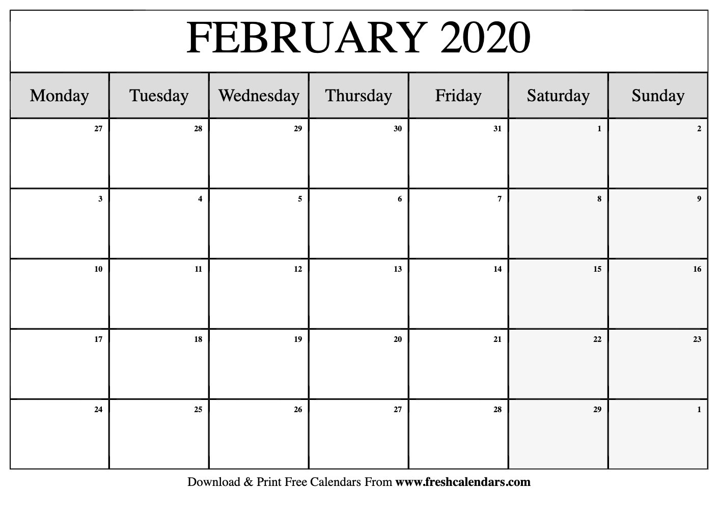 February 2020 Calendar Printable-Monthly Template 2020-Monday To Friday Printable Monthly Calendar